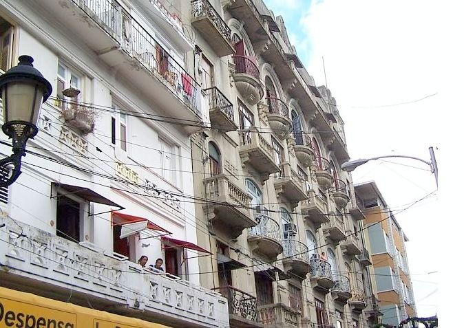 Balconies above the street