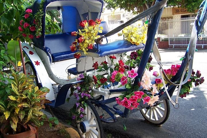 Cart covered with flowers