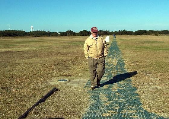 Bob walking along the original flight path