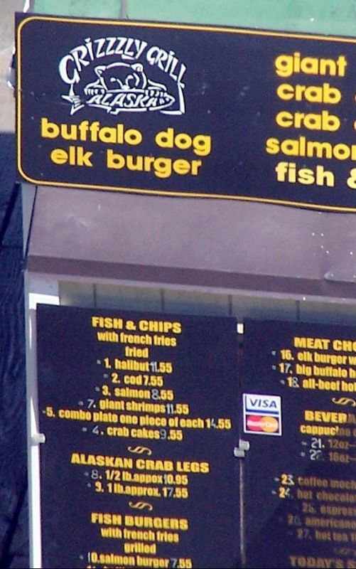 Grizzly Grill menu
