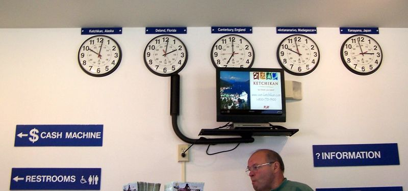 World times in the visitor's Center