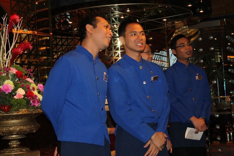 Waiters before dinner