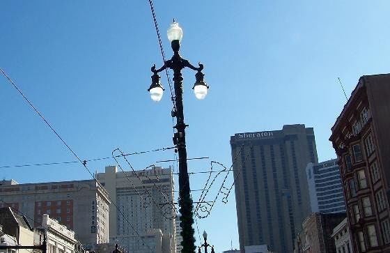 Canal Street Light poles decorated for Xmas