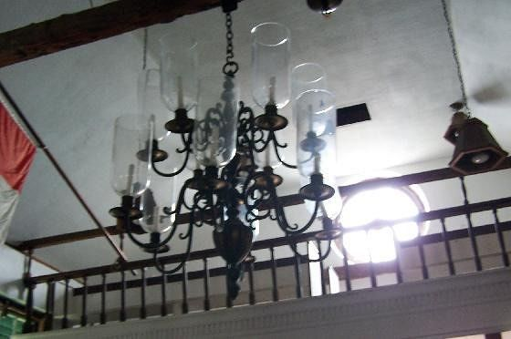Chandelier in the back of the church