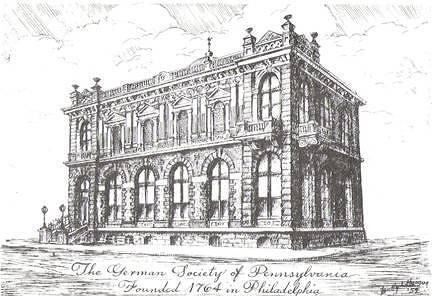Sketch of the original German Society building.