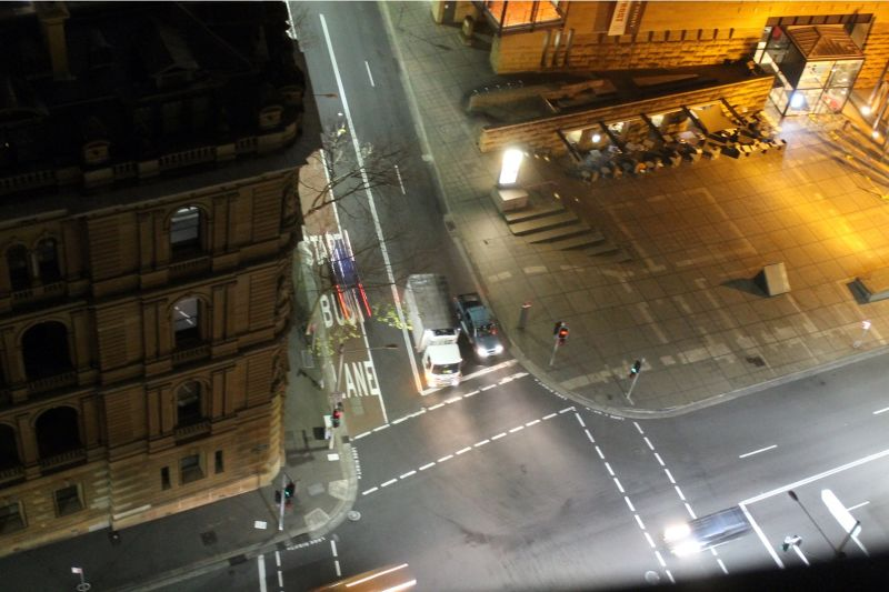 Looking down at the street before sunrise