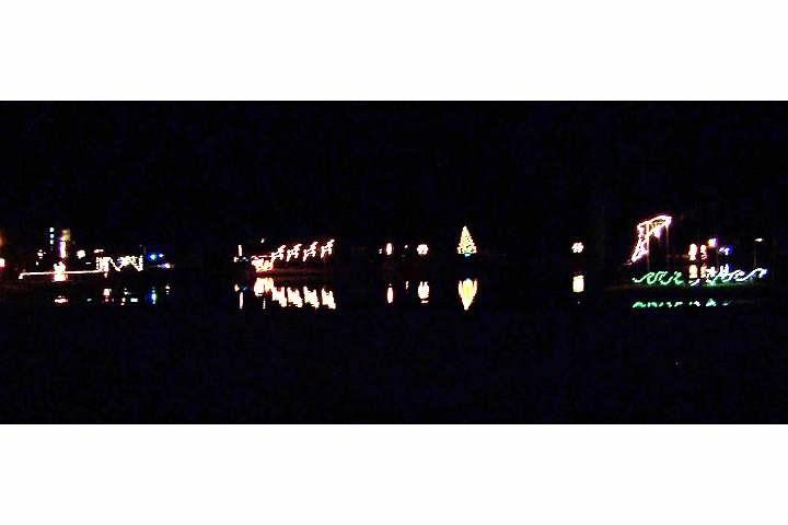 Christmas Lights at Kure Beach reflected in the lake
