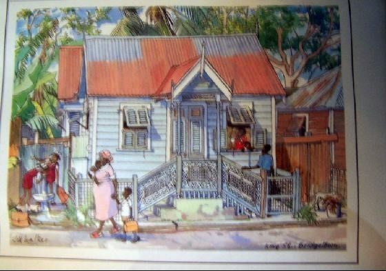 Art work depicting a chattel house - Holetown