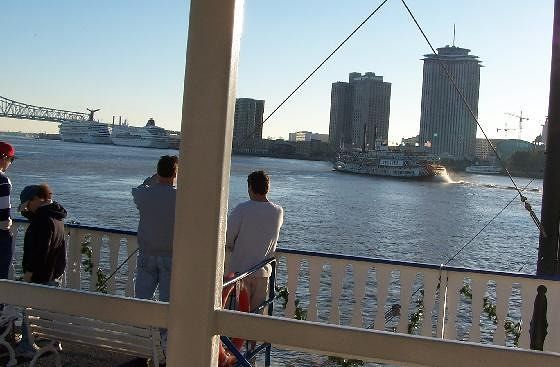 Natchez ahead of us on the Mississippi