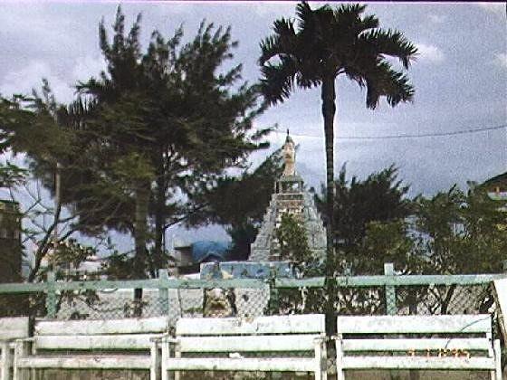 Park with fake Mayan pyramid