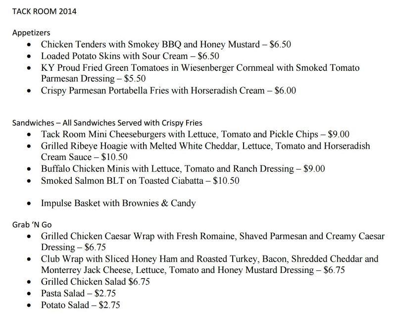 Tack Room menu - Kentucky State Horse Park
