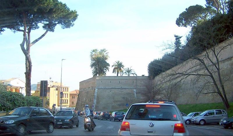 Driving around the wall of the Vatican