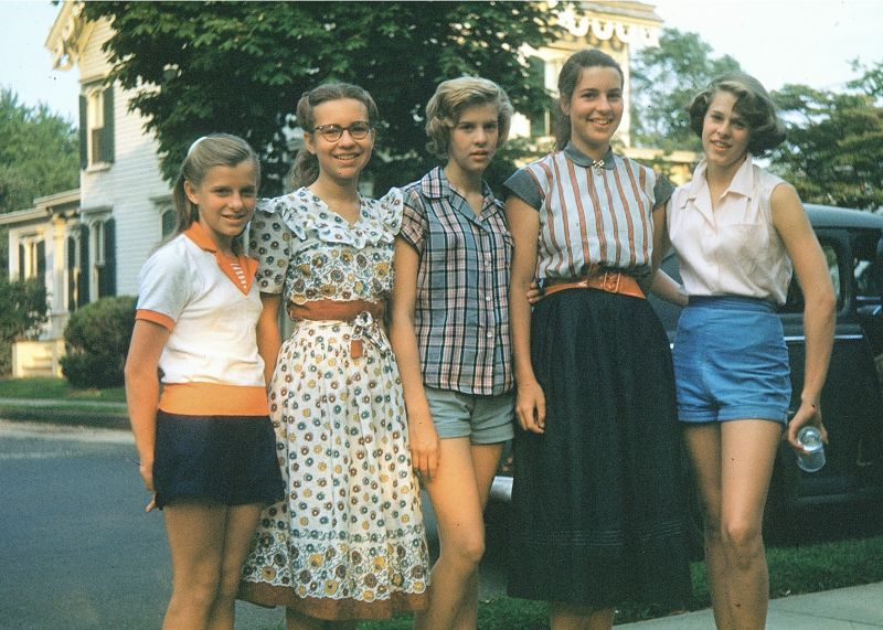 My sister and me and our girl cousins from NJ in order of age c1952 - I'm the second from the right and my sister is second from the left
