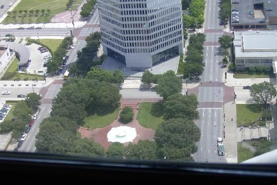 Plaza in front of Belo Building from Reunion Tower