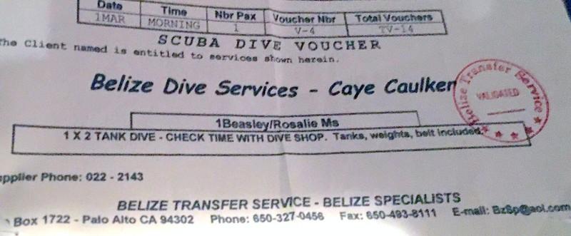Voucher for Dive Services