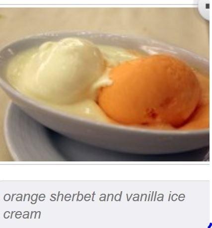 Orange sherbert and vanilla ice cram