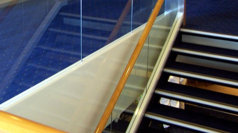 Reflection in the glass of the steps down to Deck 11
