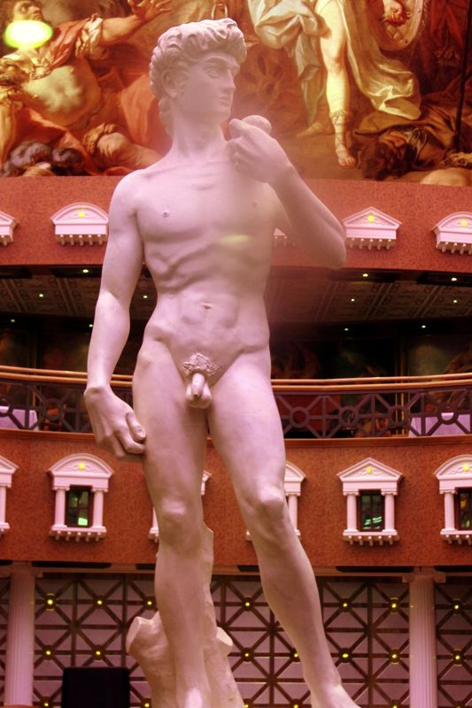 Huge statue of David in the atrium outside the Steak House