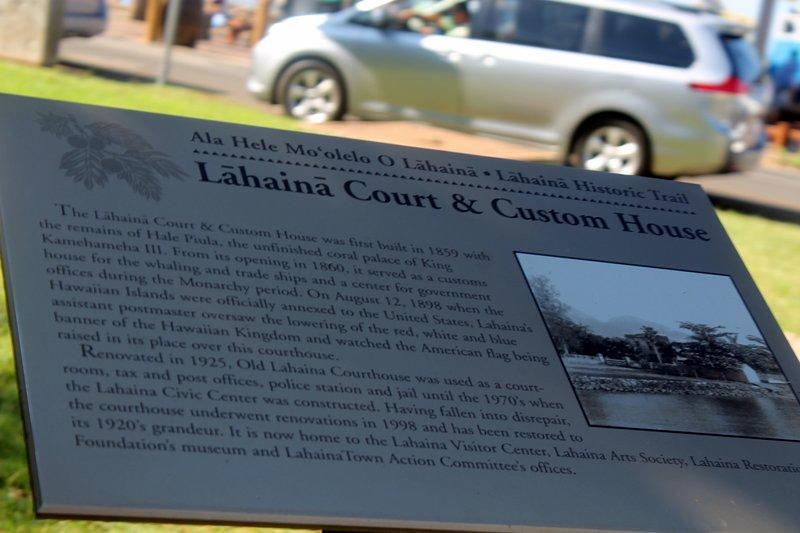 Lahaina Court & Custom House sign