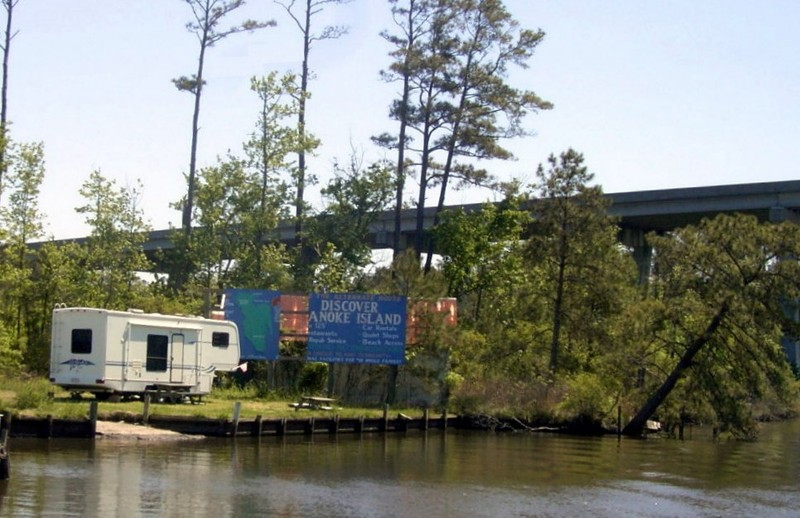Billboard next to the fixed bridge