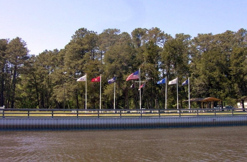 Flags on the west side of the canal