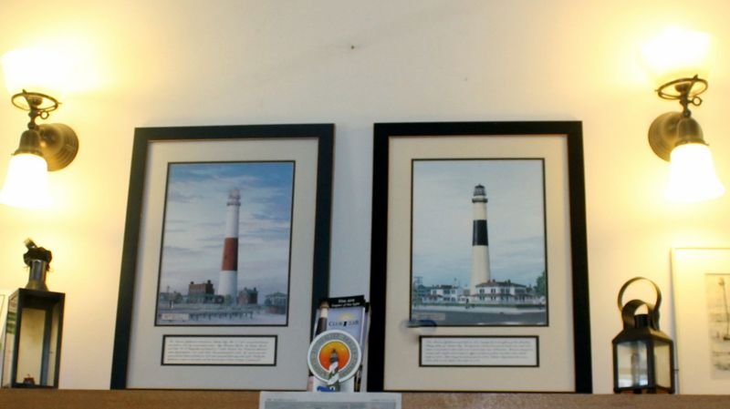 Photos at the lighthouse store (red and white on the left and black or blue and yellow on the right)