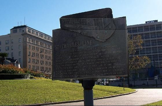 St. Charles line historic plaque on Lee Circle