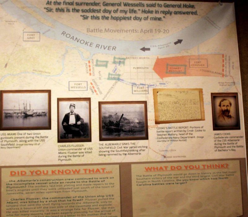 Diagram and photos of the Battle of Plymouth