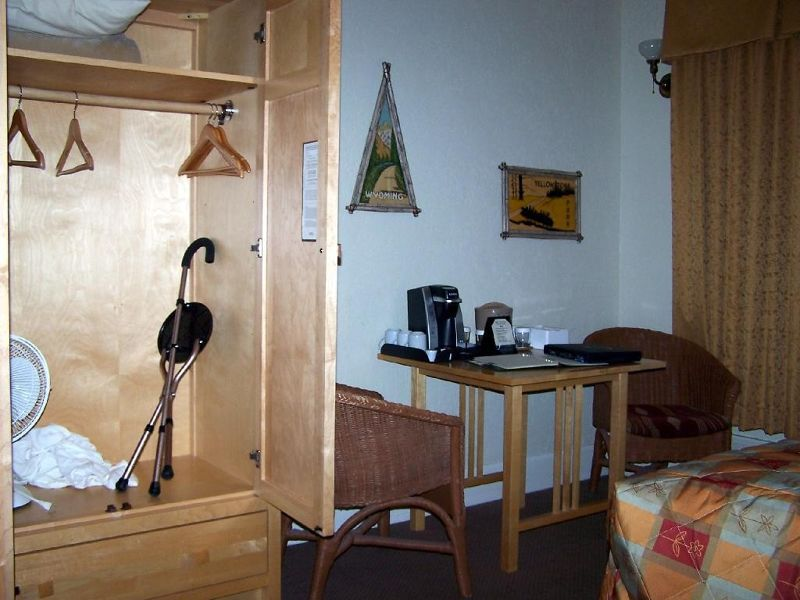 Wardrobe with my cane and seating area