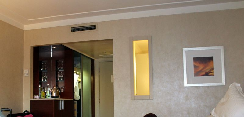 Minibar area and window to the bathroom