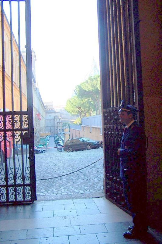 Guard at one of the doors in the museum
