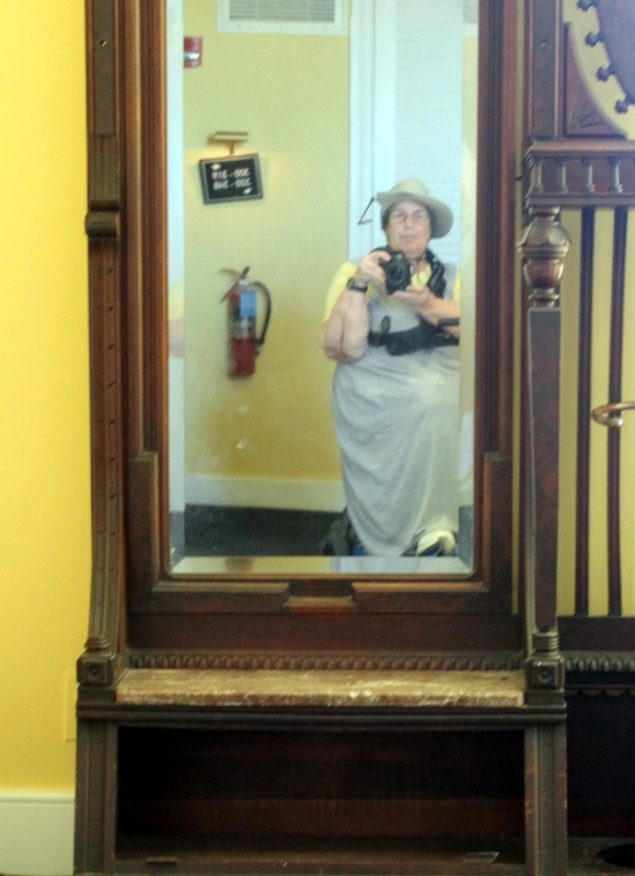 Me reflected in a hall mirror