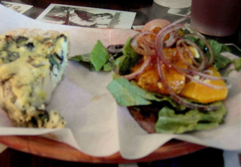 Quiche of the day which came with a mandarin orange and spinach salad,