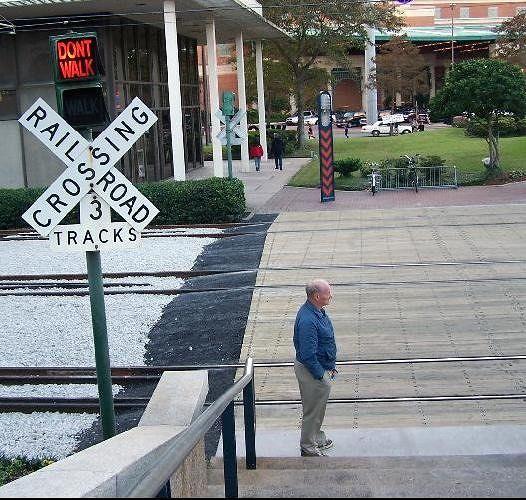 Bob standing beside the tracks