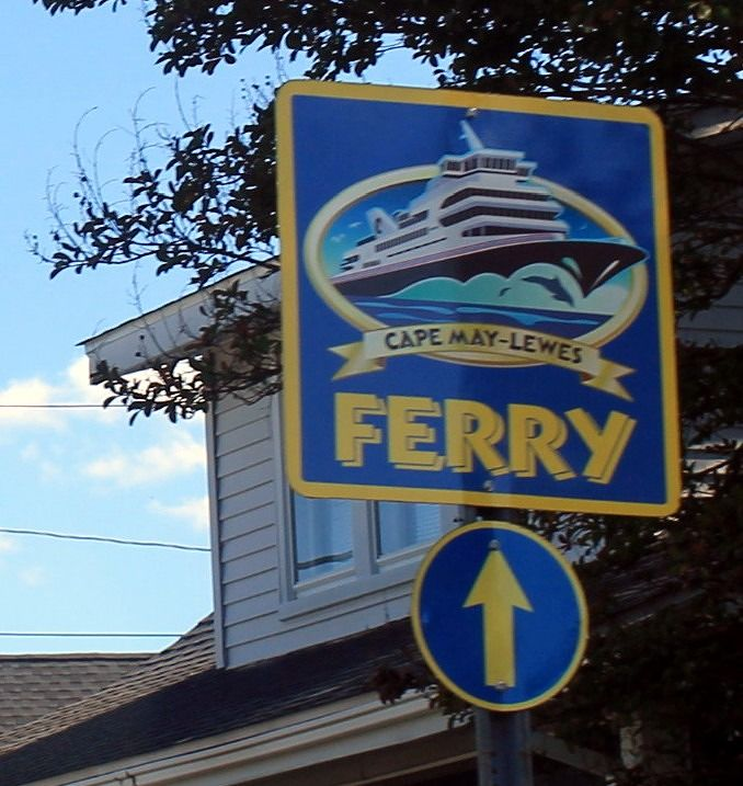 Sign pointing the way to the ferry