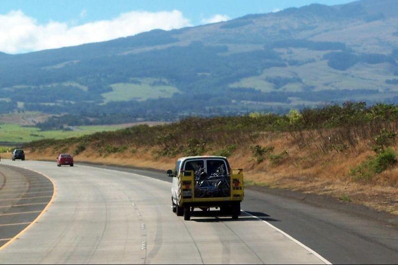 Van with bikes going to the volcano