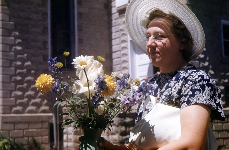 Lady doing flowers for the church