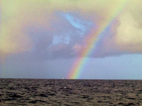 Rainbow and sailboat