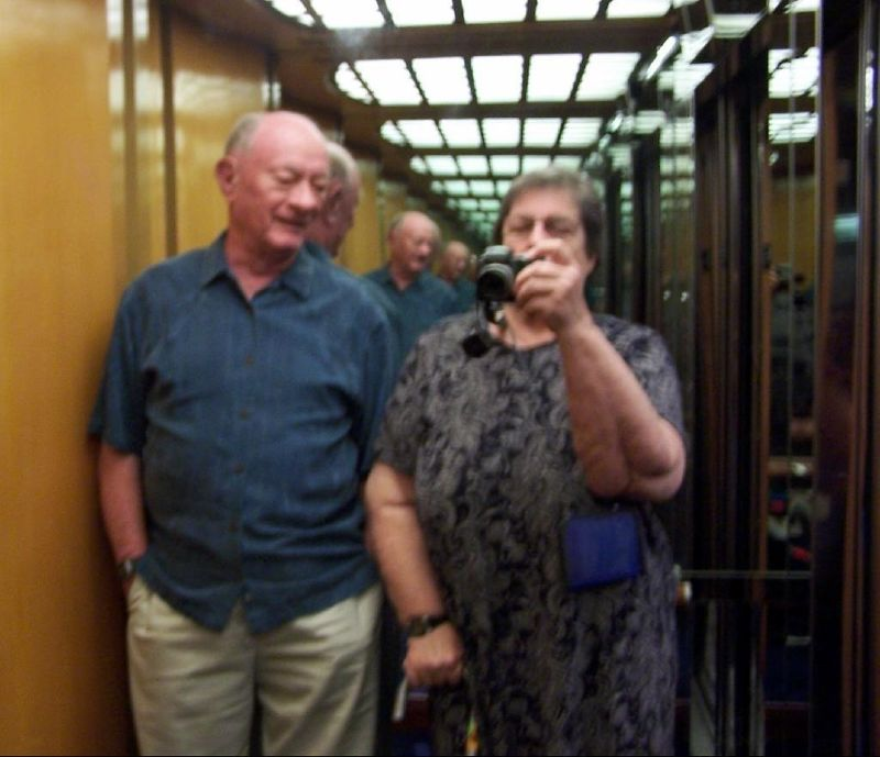 Bob and me in the elevator after dinner