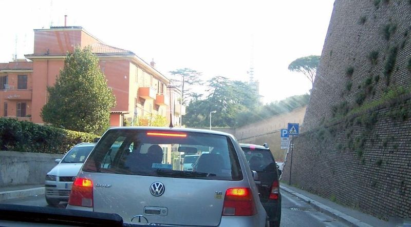 Vatican walls from the car