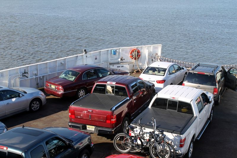 Our car (white one) on the bow