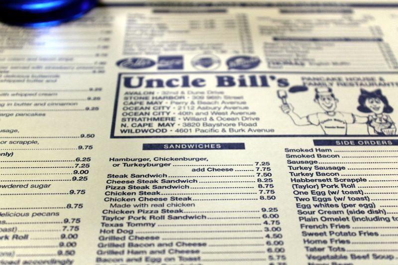 Place mat menu