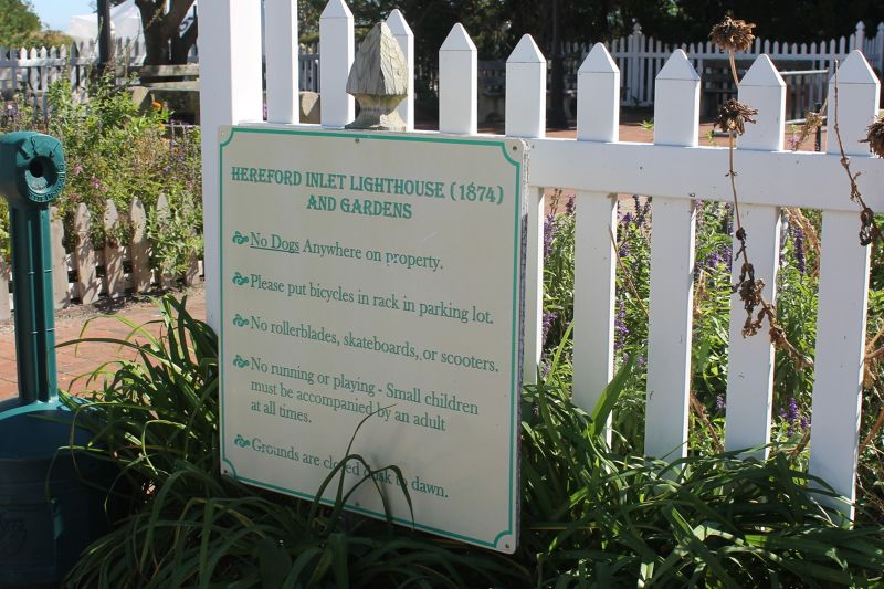 Hereford Inlet Lighthouse Garden sign