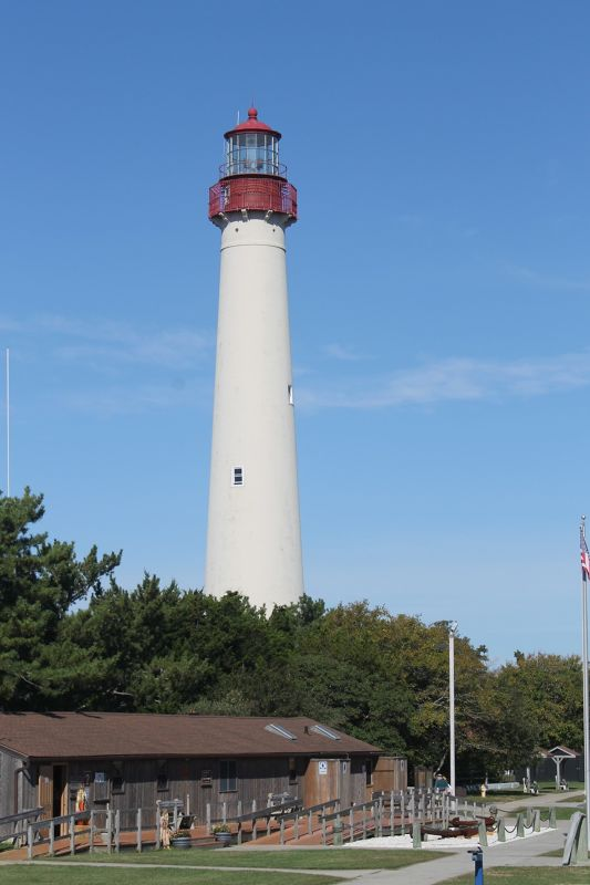Cape May Point State Park Museum with the lighthouse behind it