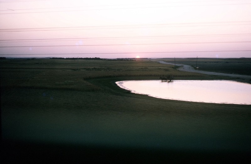 pond and sunset from train