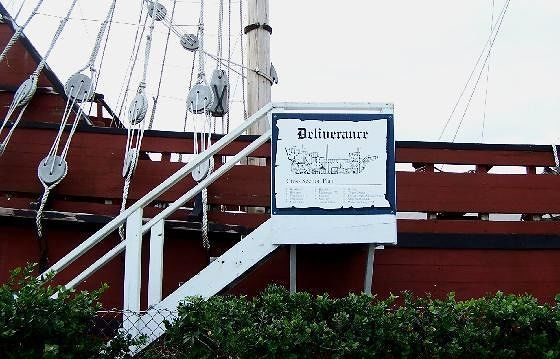 Sign depicting the Deliverance spaces aboard