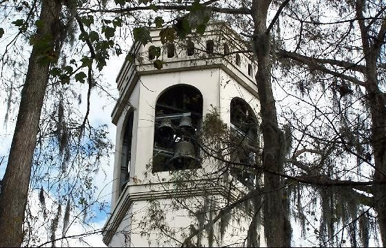 Top of carillon tower through the trees