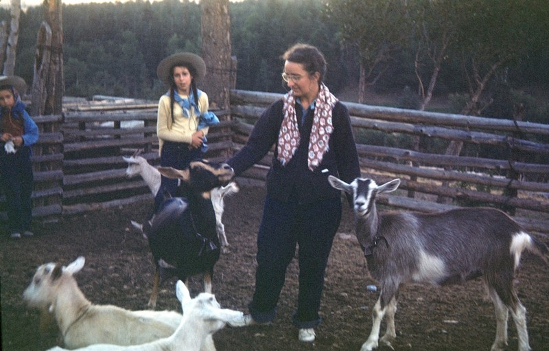 Mother and me with the goats at the Walkers