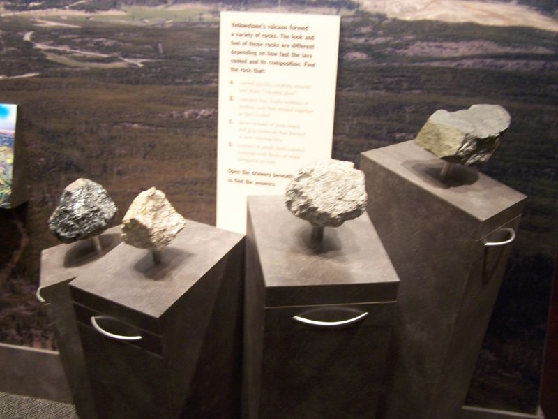 Samples of various kinds of Yellowstone rocks