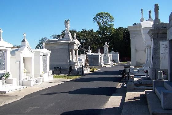 Tombs lined up along the street in St. Louis #3